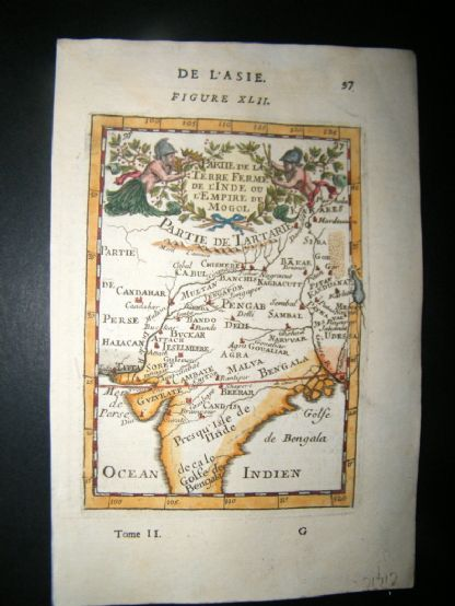 Mallet 1683 Antique Hand Col Map. Mogul Empire, India | Albion Prints
